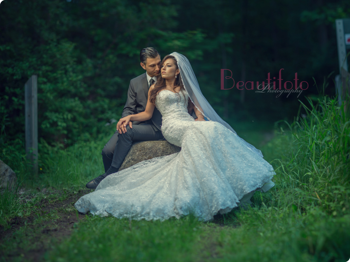 A shot of the bride and groom from their trash the dress photo session in Montreal